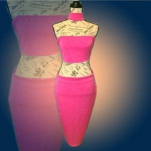 Pink Sleeveless Crop Top Bodycon Midi Dress